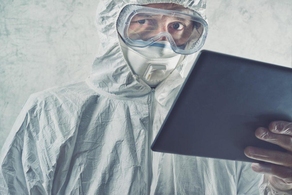 asbestos testing in progress