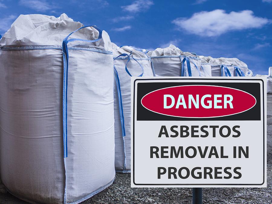 danger sign asbestos removal in progress